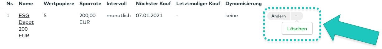 comdirect ETF Sparplan löschen