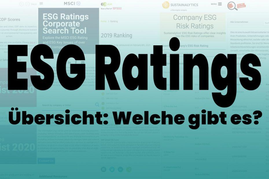 ESG Rating Agenturen Übersicht