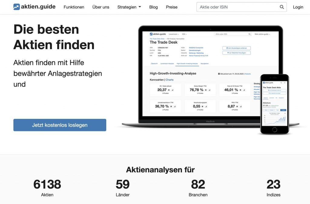Aktien.guide Aktienanalyse Tool